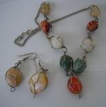 Гарнитур винтаж серьги и ожерелье натуральные камни