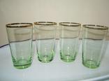 4 стакана позолота цветное стекло