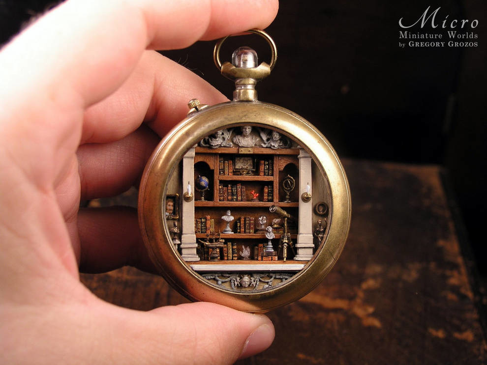 Miniature worlds in old pocket watches