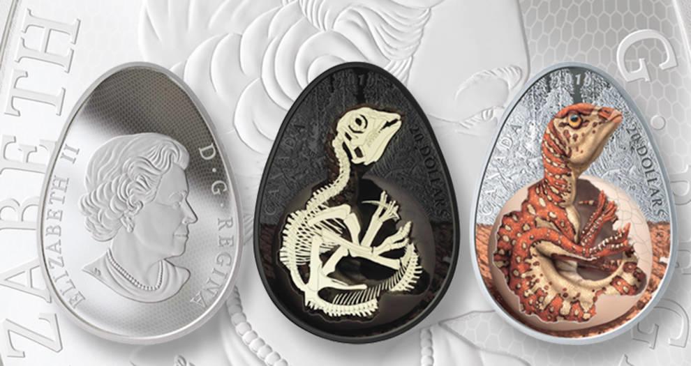 Монетный двор Канады выпустил монету в форме яйца с детенышем динозавра