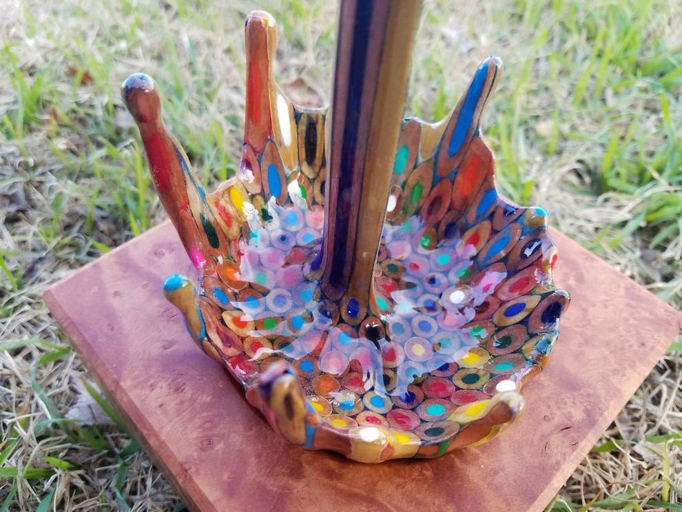 Rainbow fountain from old color pencils