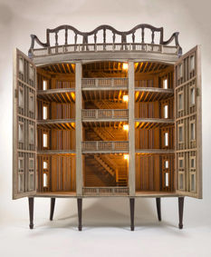 Wonderful architectural models combined with vintage furniture
