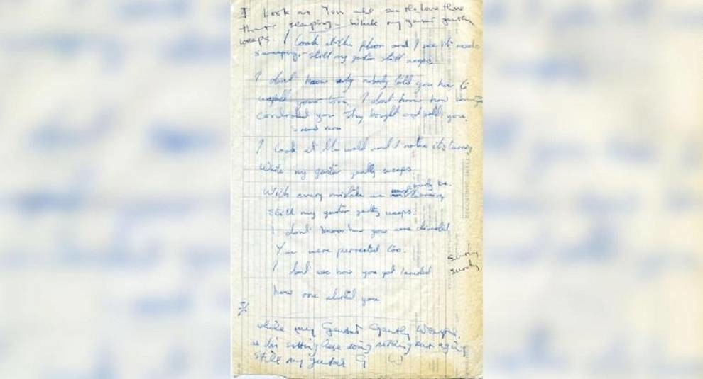 The Beatles song manuscript was put up for sale for 195 thousand dollars