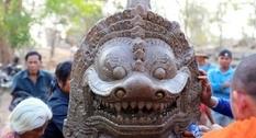 В камбоджийском храме найдена древняя статуя льва