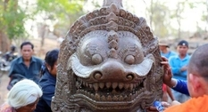 Ancient lion statue found in Cambodian temple