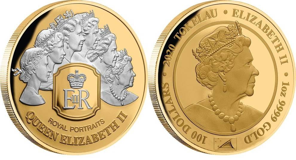 Выпущена монета с шестью портретами Елизаветы II