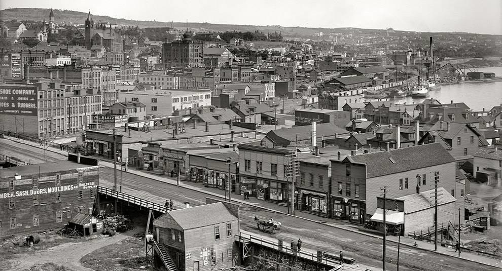 Американский город Дулут на фото первой половины XX века