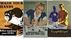 Сохраняй спокойствие и мой руки: тематические плакаты прошлого века