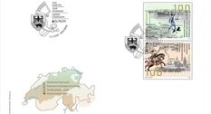 Switzerland presented two stamps with a postal route scheme