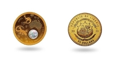 Liberia introduced a coin with an opal insert