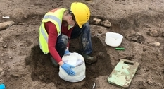 A bronze age urn was found on a construction site in Ireland