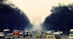The streets of Paris on a photo of the mid-70s
