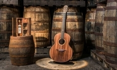 As old barrels from whiskey turned into a guitar