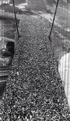 On the opening day, almost 200,000 people crossed the bridge