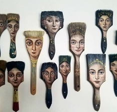Axes with eyes and brushes with hair: surrealism on old household items