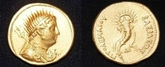 Where was found the gold coin with the profile of Ptolemy III?