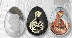 Canadian Mint issued an egg-shaped coin with a baby dinosaur