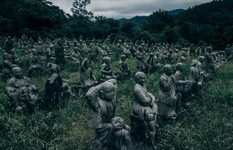 Creepy collection of human statues placed around a Japanese village