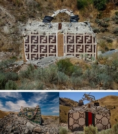 Prada, Chanel and Gucci bags decorating the concrete walls of the Oregon desert