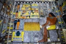 Egyptian archaeologists have found untouched tombs decorated with colorful murals