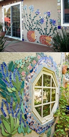 Mosaics from the remnants of ceramics and tiles as ideas for decoration