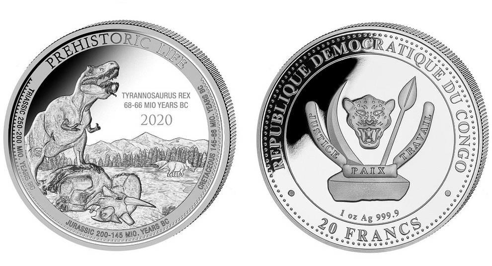 В Конго выпущена 20-франковая монета с тираннозавром
