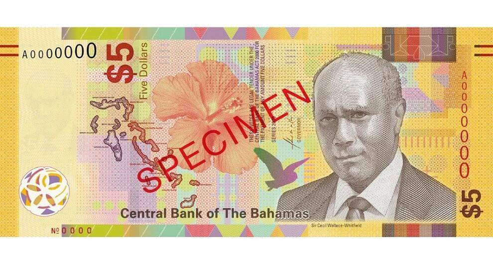 New 5-dollar bills issued in the Bahamas