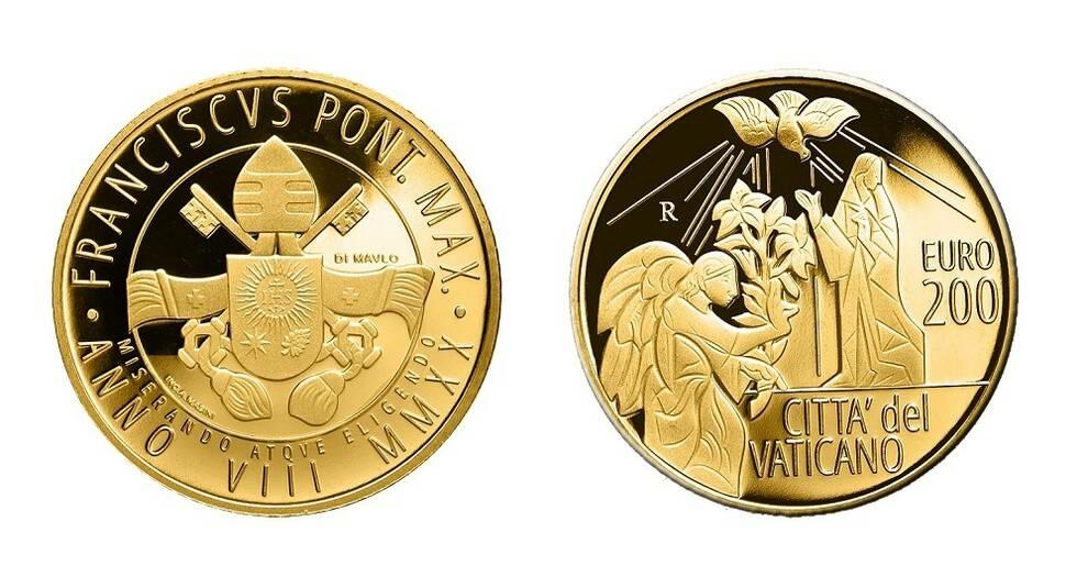 Ватикан выпустил золотую монету с архангелом Гавриилом