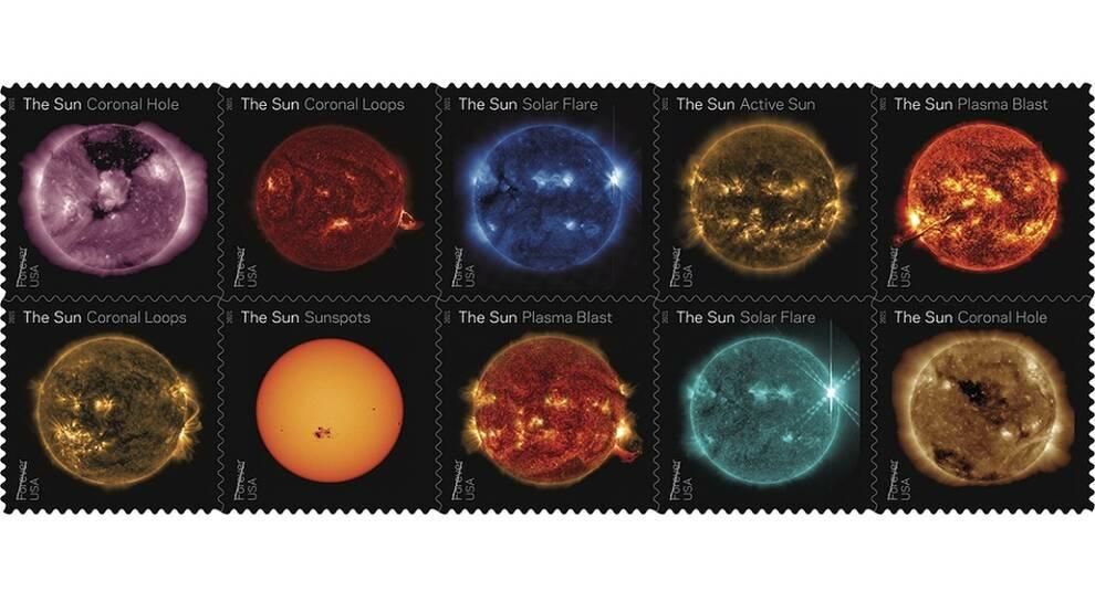 Почтовая служба США показала многоликость Солнца, выпустив 10 марок