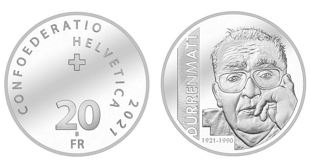 В Швейцарии новую монету посвятили Фридриху Дюрренматту