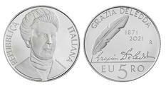 Нобелевские лауреаты в нумизматике: Грация Деледда на итальянской монете