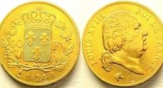 Франция, 40 франков (1824 год)