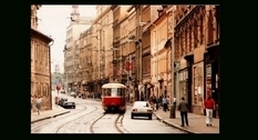 The streets of Prague in the 1980s