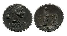 Coin Triumvir and praetor Lucius Roscius Fabatus