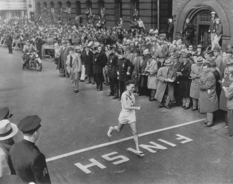 At the finish line he was met with silence