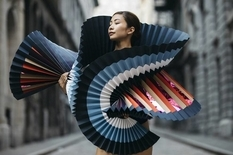 Not for walking: bright origami dresses