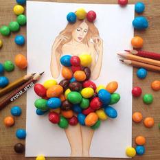 Разноцветные драже и кусочки киви — креативные образы армянского иллюстратора