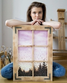 «Дождливые» пейзажи создает художница при помощи акварели (Фото)