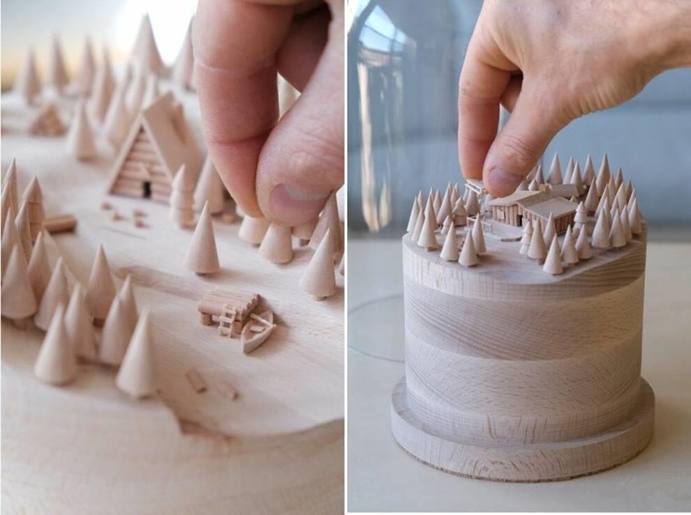 Миниатюрный размер и натуральное дерево — скульптуры французского мастера