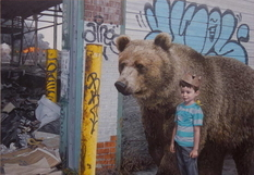 Children and animals among the ruins of the city in the works of Kevin Peterson