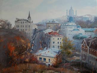 "Картина ""Осень на Андреевском спуске"", холст, масло. Микитенко Виктор"