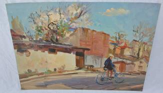 Юкляевских И.И. к/м р.51,5х36 «На велосипеде» 1960г.
