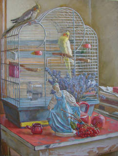 "Картина ""Натюрморт на фоне птиц"""
