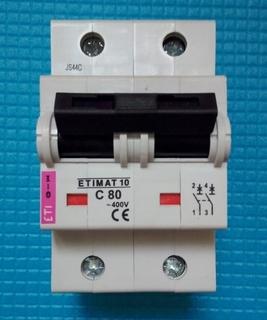 Автоматический двухполюсный выключатель ETIMAT 10 C80