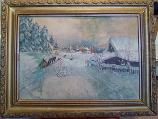 Подписная картина в раме,пейзаж,полотно, масло.
