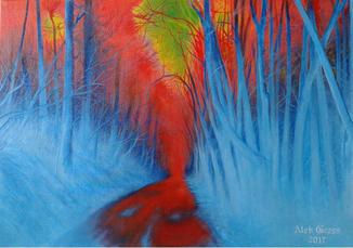 Дорога в лесу. Х., м., 50х70 см, Алек Гросс