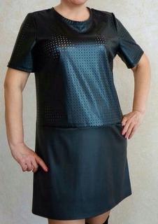 Стильное нарядное платье на праздники эко-кожа - «OXO VIOLITY» 296e4549455af