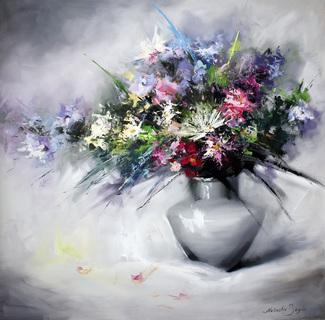 Цветочный букет мастихином 2018г