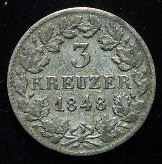 Нассау 3 крейцера 1848 серебро 171 Violity 187 Auction For