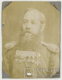Обер-офицер с боевыми наградами за Русско-турецкую войну, медаль за Крымскую войну.